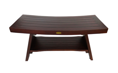 "DecoTeak Serenity 35"" Teak Wood Shower Bench with Shelf in Woodland Brown Finish"