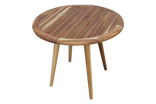 "EcoDecors Mid-Century Modern 36"" Teak Wood Round Table in EarthyTeak Finish"