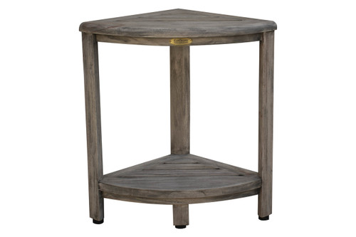 "CoastalVogue Oasis 18"" Teak Wood Fully Assembled Corner Shower Bench with Shelf in Gray Coquina Finish"