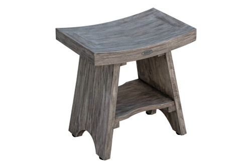 "CoastalVogue Serenity 18"" Teak Wood Fully Assembled Shower Bench in Gray Coquina Finish"