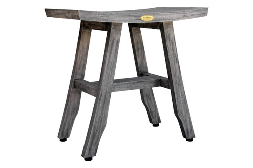 "CoastalVogue Satori 18"" Teak Wood Fully Assembled Shower Bench in Gray Coquina Finish"