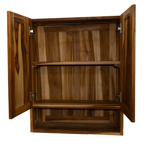 "EcoDecors Curvature 24"" Teak Wood Fully Assembled Wall Cabinet in EarthyTeak Finish"