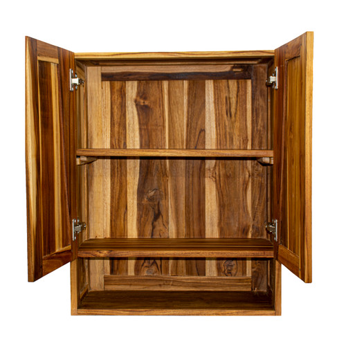 "EcoDecors Significado 24"" Teak Wood Fully Assembled Wall Cabinet in EarthyTeak Finish"