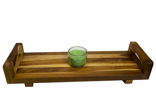 """EcoDecors Eleganto 29"""" Teak Wood Fully Assembled Bath Tray and Seat with LiftAide Arms in EarthyTeak Finish"""