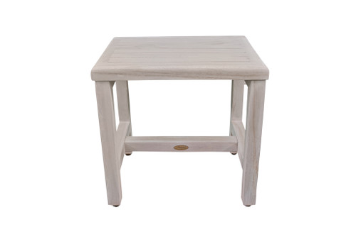 "CoastalVogue Eleganto 18"" Teak Wood Shower Bench in Coastal Off White Finish"