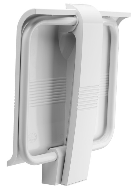 Innovato SwapAble Foldaway Wall Mount White Shower Chair with Hinged Weight Supporting Leg