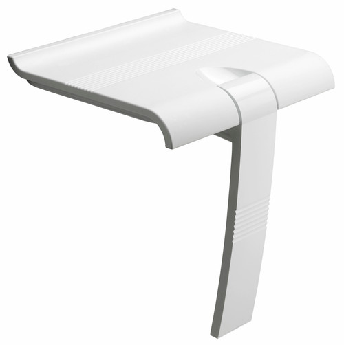 Innovato SwapAble Set- White Wall Mount Shower Chair Bench with Hinged Weight Supporting Leg with Swap & Click Mini Shelf