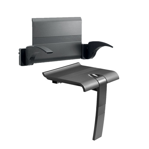 Innovato SwapAble Set- Ebony Gray Wall Mount Shower Chair with Back Rest, Two Arms and Swappable Mini Shelf and Grab Bar