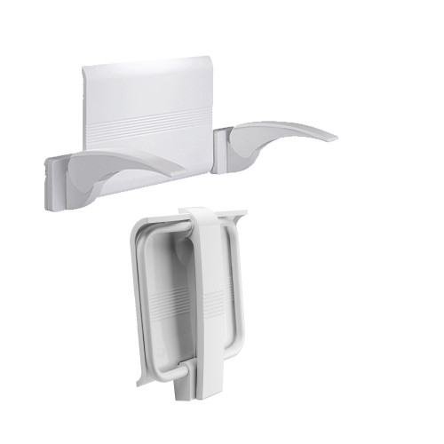Innovato SwapAble Set- White Wall Mount Shower Chair with Leg, Includes Back Rest And Two Hinged Arms