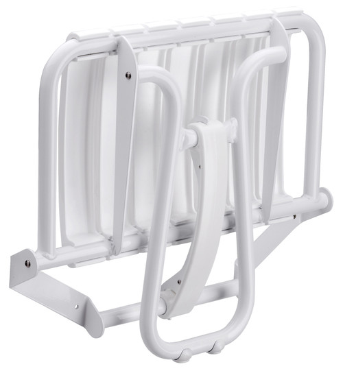 "23"" Eleganto White Foldaway Wall Mount handicap Shower Seat with Integrated Support Stand"