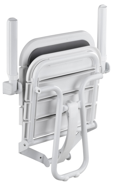Comfortique wall mounted foldaway shower chair with back and arm rests