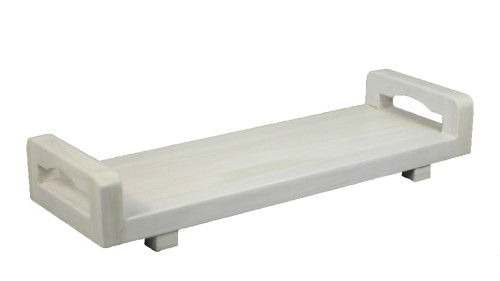 "CoastalVogue Eleganto 29"" Teak Wood Fully Assembled Bath Tray with LiftAide Arms in White Driftwood Finish"