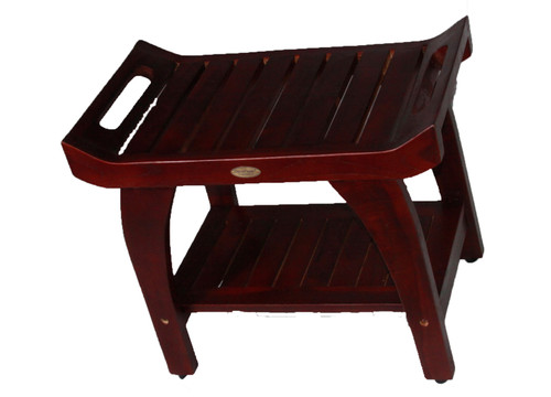 "DecoTeak Tranquility 24"" Teak Wood Shower Bench with Shelf and LiftAide Arms in Brown Finish"