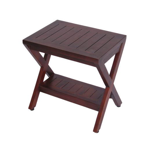 "Obliquity 18"" Teak Wood Fully Assembled Shower Bench with Shelf Fully Assembled in Brown Finish"