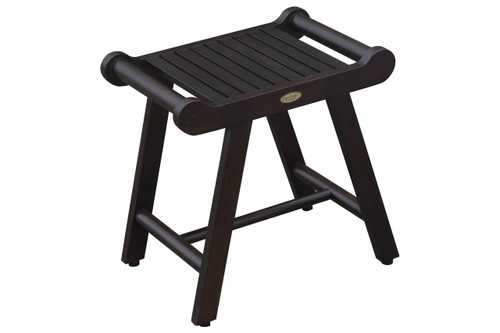 """SensiHarmony 24"""" Teak Wood Fully Assembled Shower Bench LiftAide Arms in Brown Finish"""