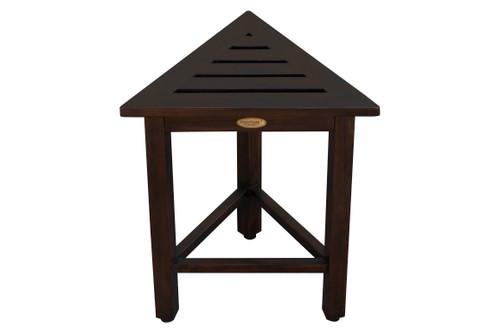 "FlexiCorner Teak Wood 17"" Triangular Stool in Brown Finish"