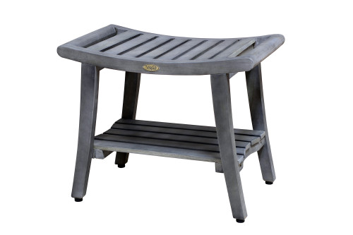 """Harmony 24"""" Teak Wood Shower Bench with Shelf and LiftAide Arms in Gray Driftwood Finish"""