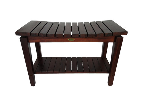 "DecoTeak Sojourn 30"" Teak Wood Curved Shower Bench with Shelf in Woodland Brown Finish"