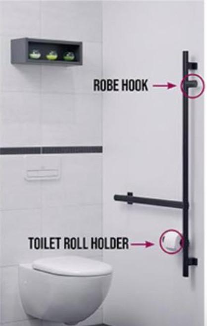 Bidirectional Dual Purpose Ebony Gray Ellipso Grab Bar- Toilet paper holder and robe hook