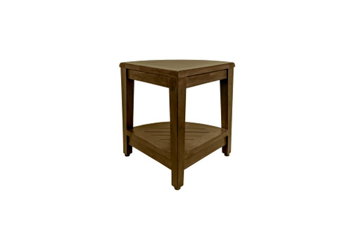 "DecoTeak SnazzyCorner 24"" Teak Wood Fully Assembled Tall Corner Shower Bench with Shelf in Woodland Brown Finish"