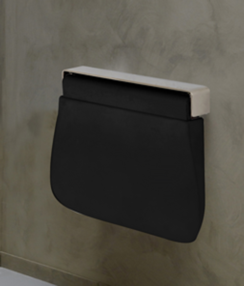 Black Tuck Fold Away Shower Seat- Soft Polyurethane Seat Shower Chair With Stainless Frame