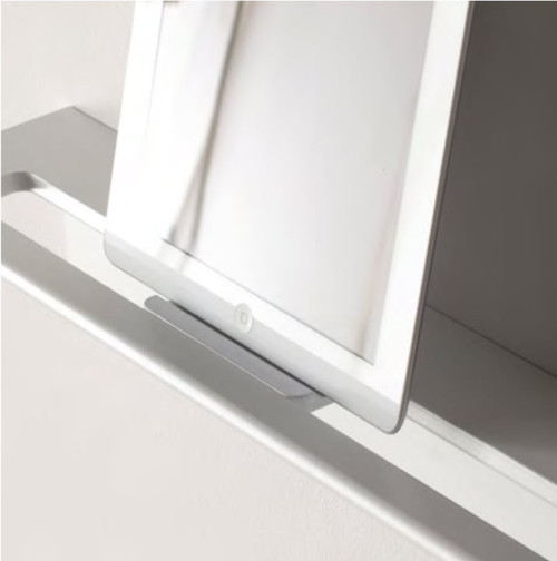 Duality™ White Slim Line Hybrid™ Floating Shelf With Toilet Paper Holder, Towel Holder & Grab Bar