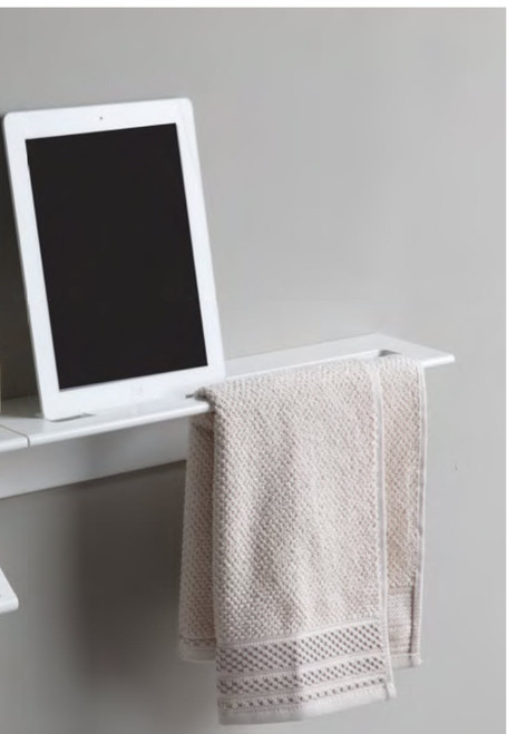 Duality™ White Slim Line Hybrid™ Floating Shelf With Toilet Paper Holder, Towel Holder & Grab Bar
