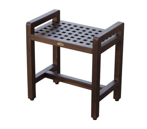 "DecoTeak Espalier 20"" Teak Wood Shower Bench with LiftAide Arms in Woodland Brown Finish"