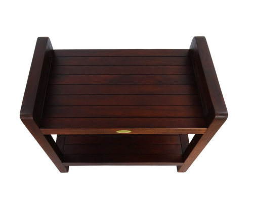 """DecoTeak Eleganto 24"""" Teak Wood Shower Bench with LiftAide Arms and Shelf in Woodland Brown Finish"""