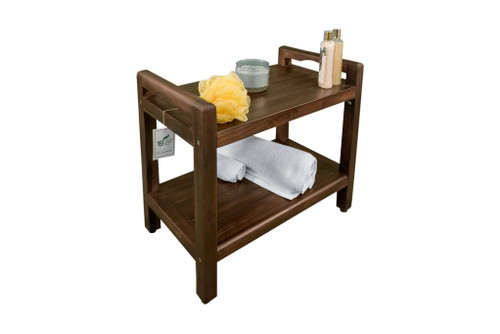 "DecoTeak Eleganto 24"" Teak Wood Tall Shower Bench with LiftAide Arms and Shelf in Woodland Brown Finish"
