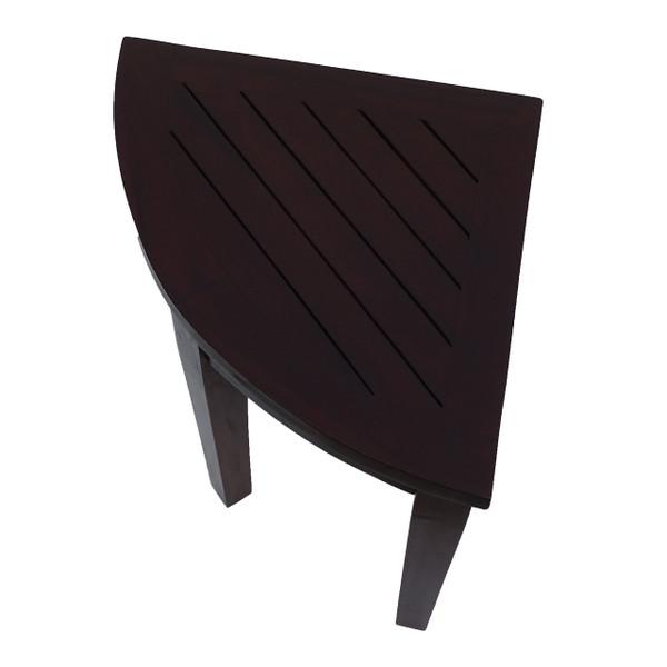 DecoTeak Oasis™ Bathroom Teak Corner Shower Stool Chair - Sitting, Shaving, Storage, Shaving Foot Rest