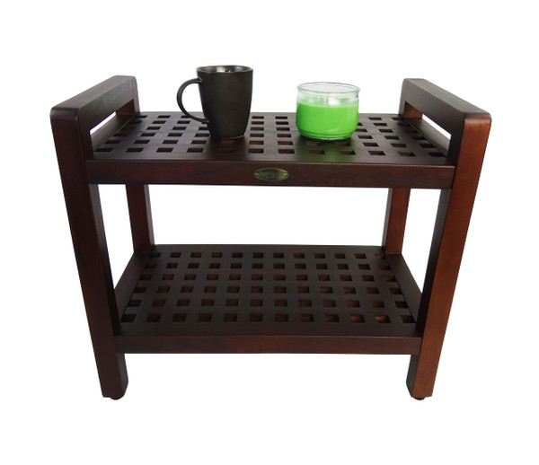 Espalier™ 24 inch Lattice Teak Shower Bench with Shelf and Arms