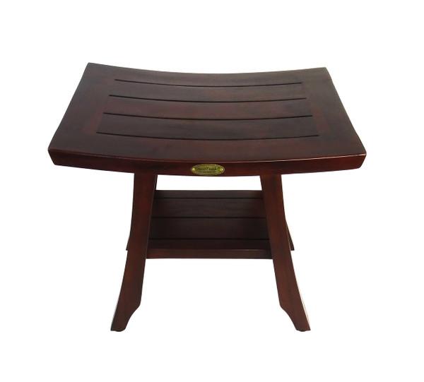DecoTeak Satori™ 18 inch Solid Teak Shower Bench with Shelf - FULLY ASSEMBLED