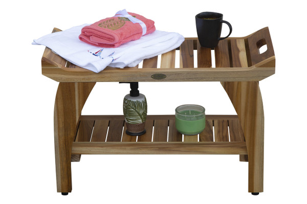 EcoDecors EarthyTeak Tranquility™ 29 Inch Teak Eastern Style Shower Bench with Shelf and Arms