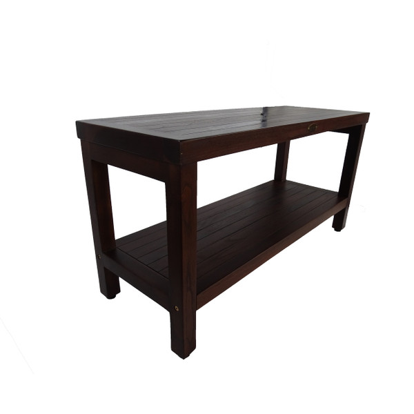 Eleganto™ 35 inch Teak Shower Bench With Shelf