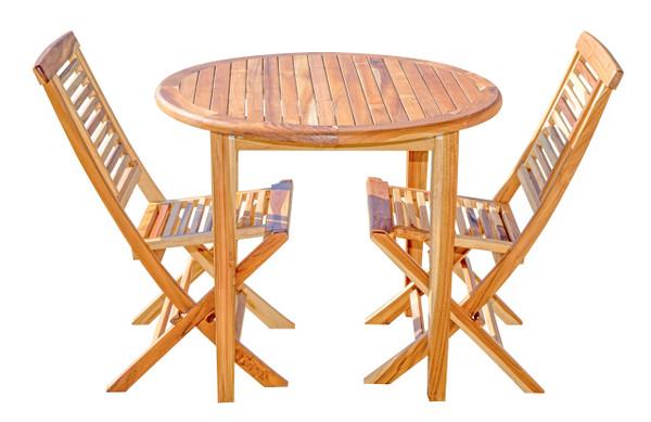 EcoDecors Indoor Outdoor Teak Oasis™ Round Dining Table - 36 inch Diameter