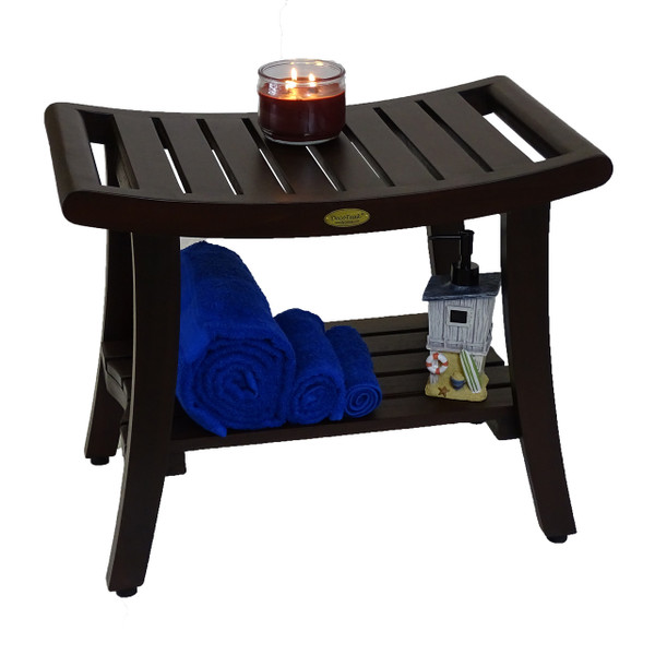 DecoTeak Harmony™ 24 inch Teak Shower Bench With Shelf and LiftAide Arms