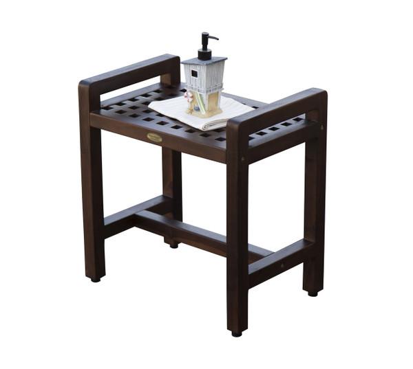DecoTeak Espalier™ 20 inch Lattice Teak Shower Stool with Arms