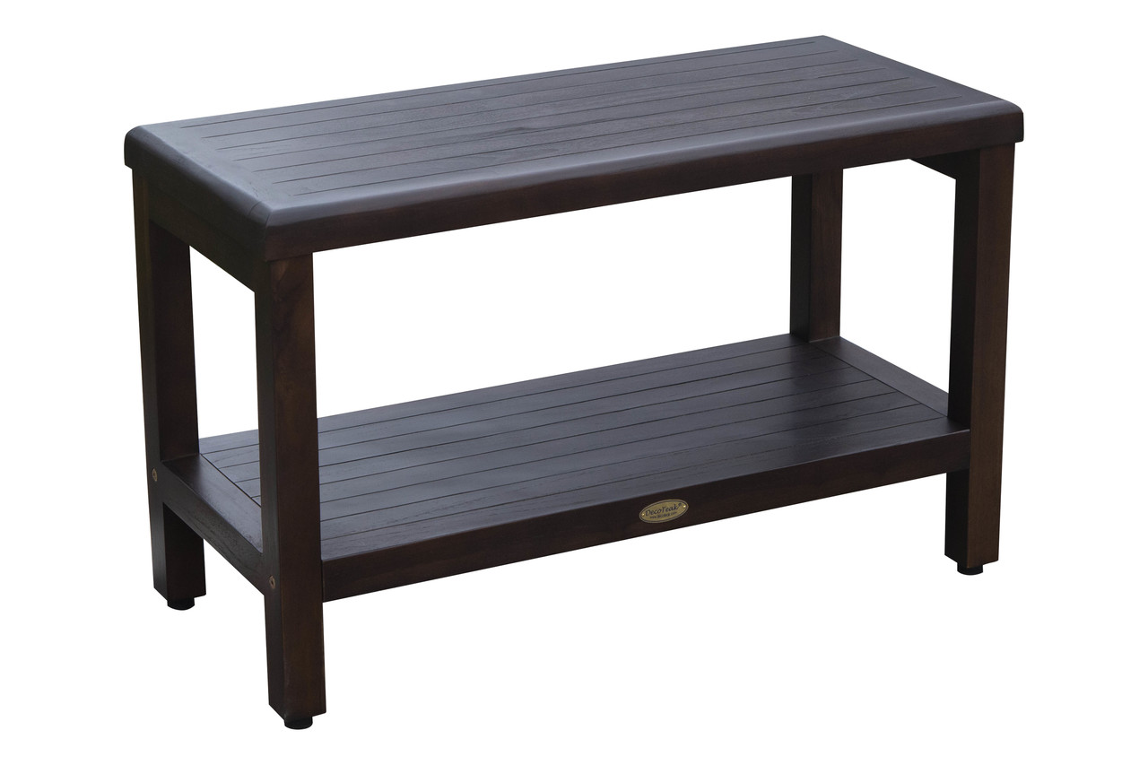 Eleganto 30 Inch Teak Shower Bench With Shelf