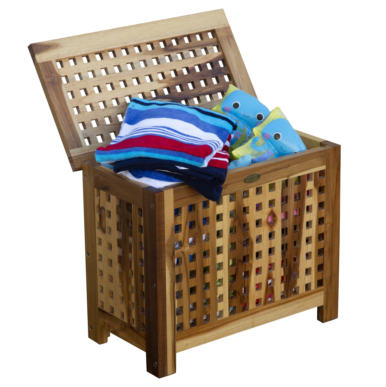 Wondrous Solid Lattice Bench Teak Hamper With Laundry Bag Creativecarmelina Interior Chair Design Creativecarmelinacom