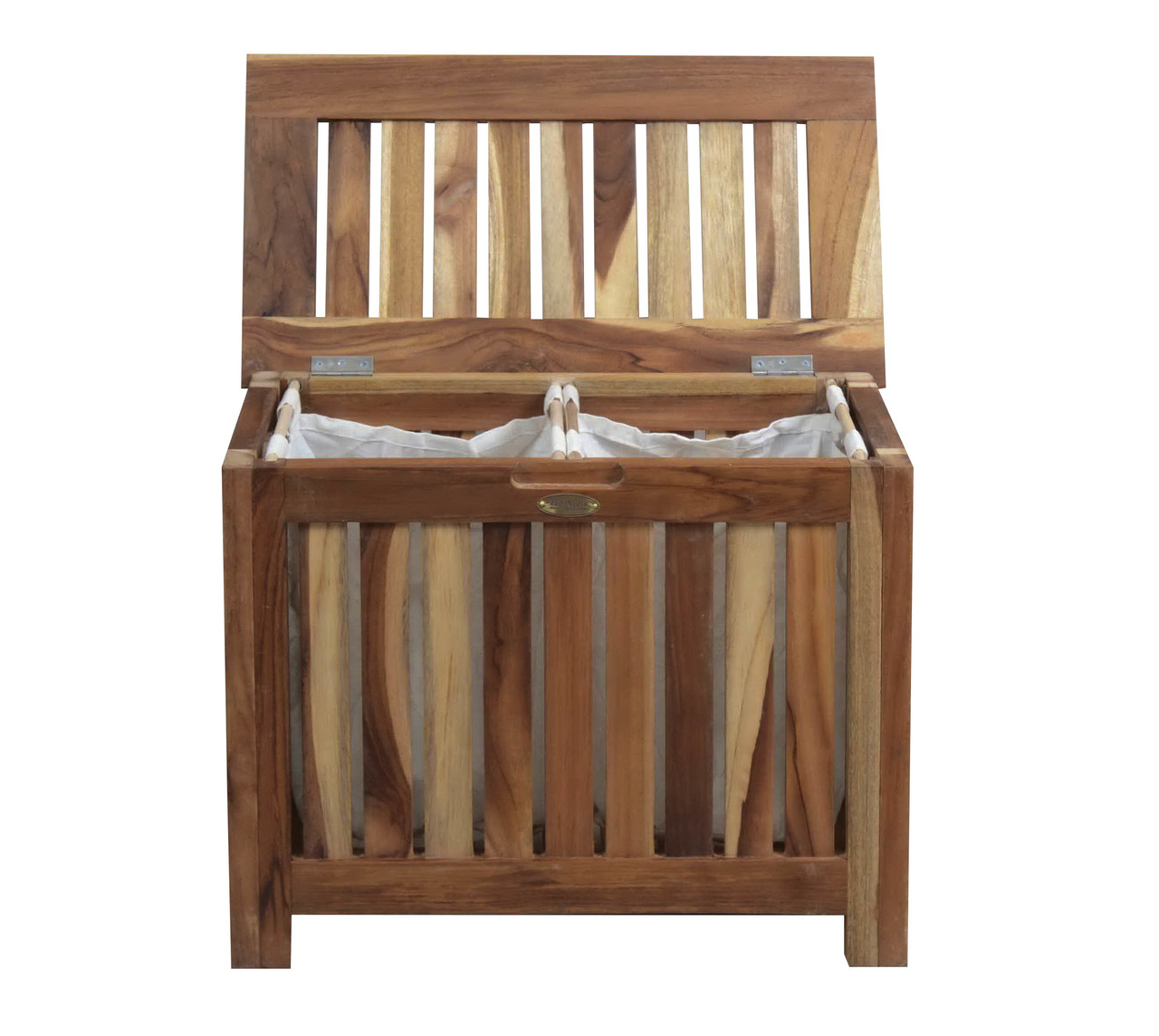 Pleasant Solid Teak Slatted Bench Hamper With Laundry Bag Creativecarmelina Interior Chair Design Creativecarmelinacom