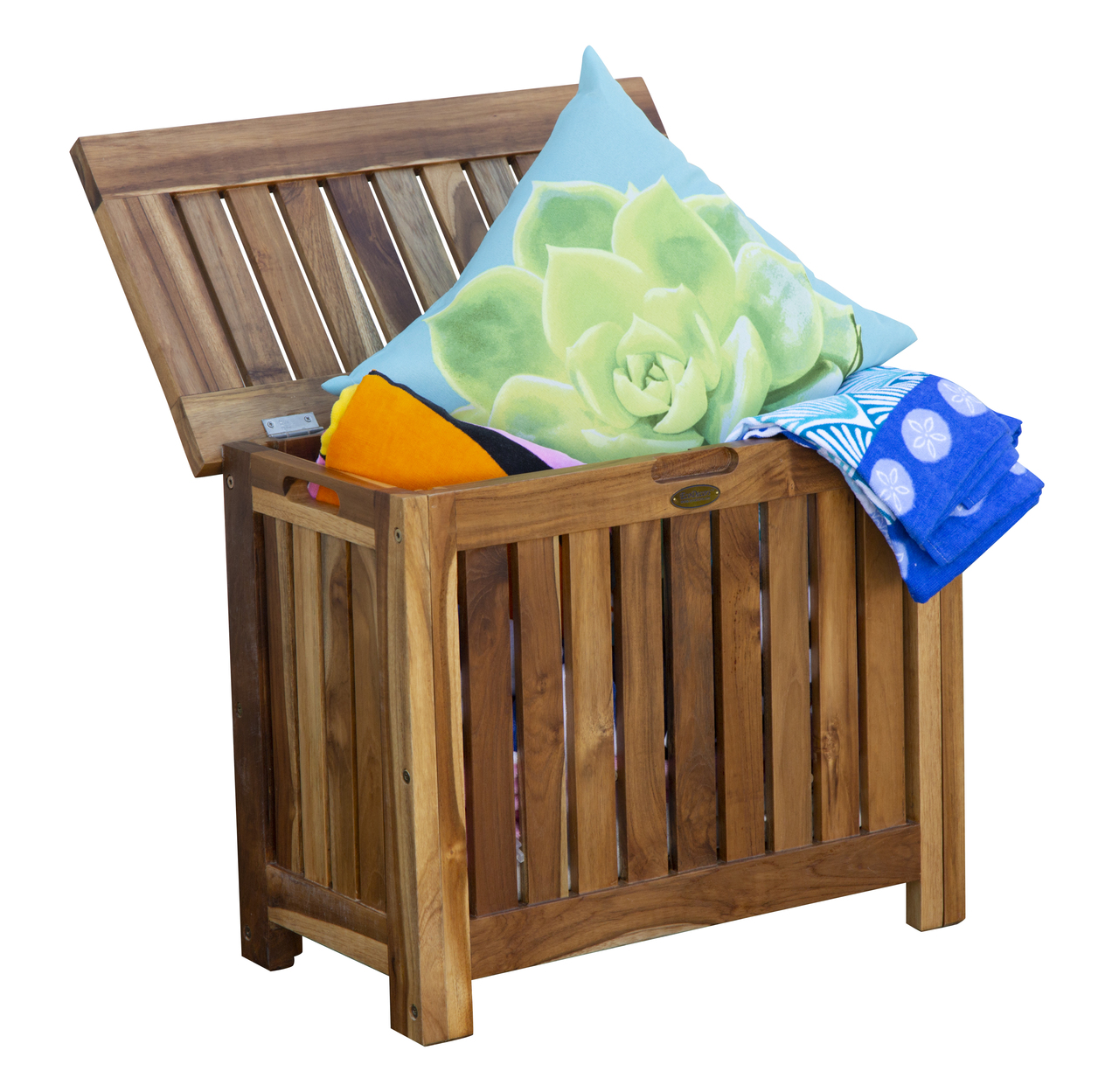Astonishing Solid Teak Slatted Bench Hamper With Laundry Bag Creativecarmelina Interior Chair Design Creativecarmelinacom