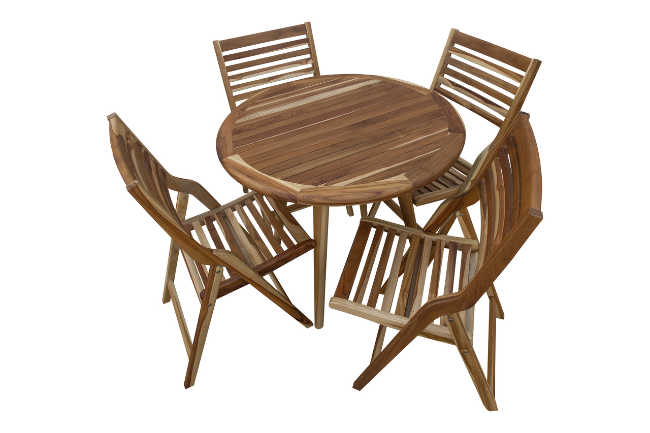 EarthyTeak Indoor Outdoor Teak Oasis™ Mid Century Modern Round Dining Table  - 36 inch Diameter