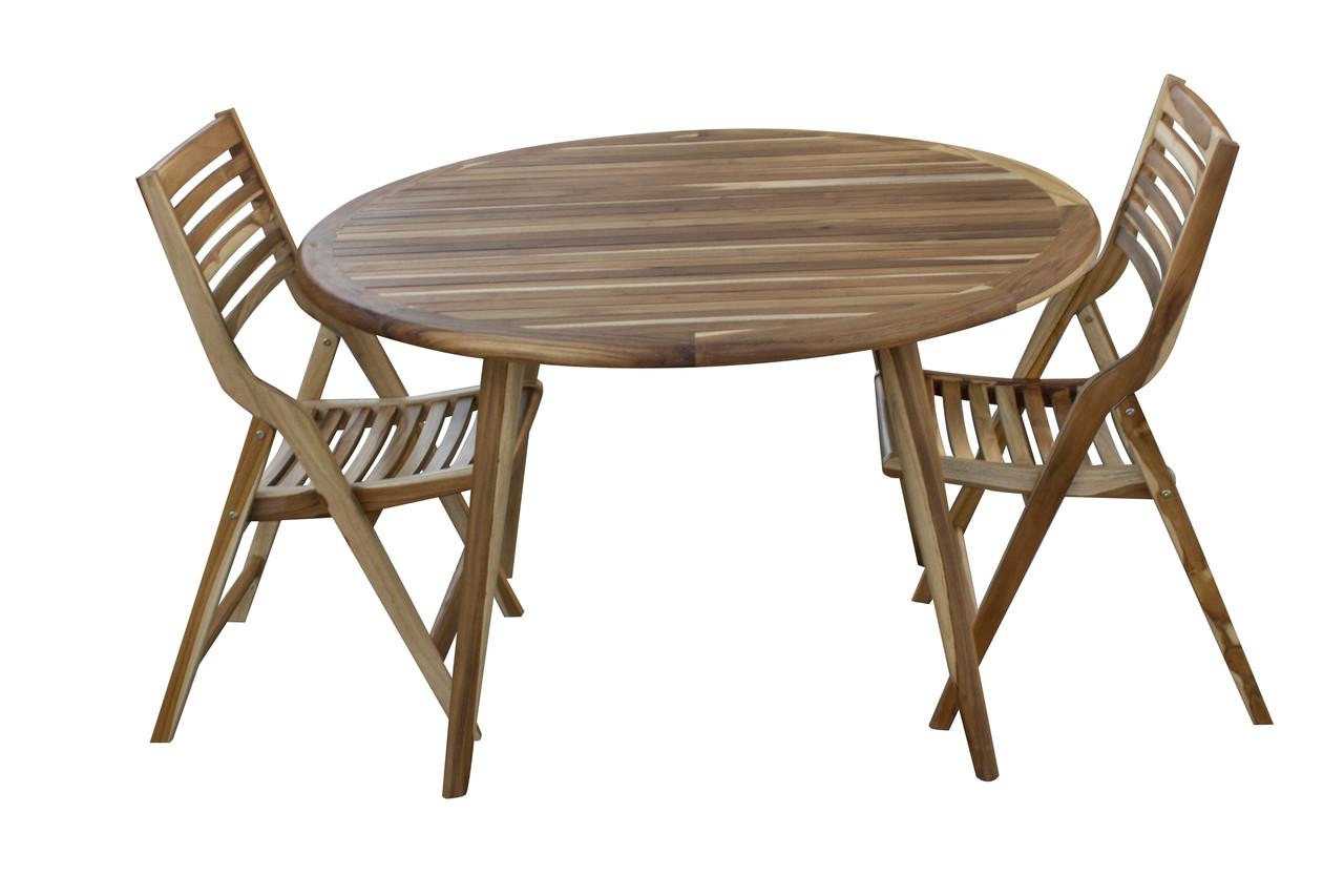 Indoor Outdoor Teak Oasis™ Mid Century Modern Round Dining Table - 48 inch  Diameter