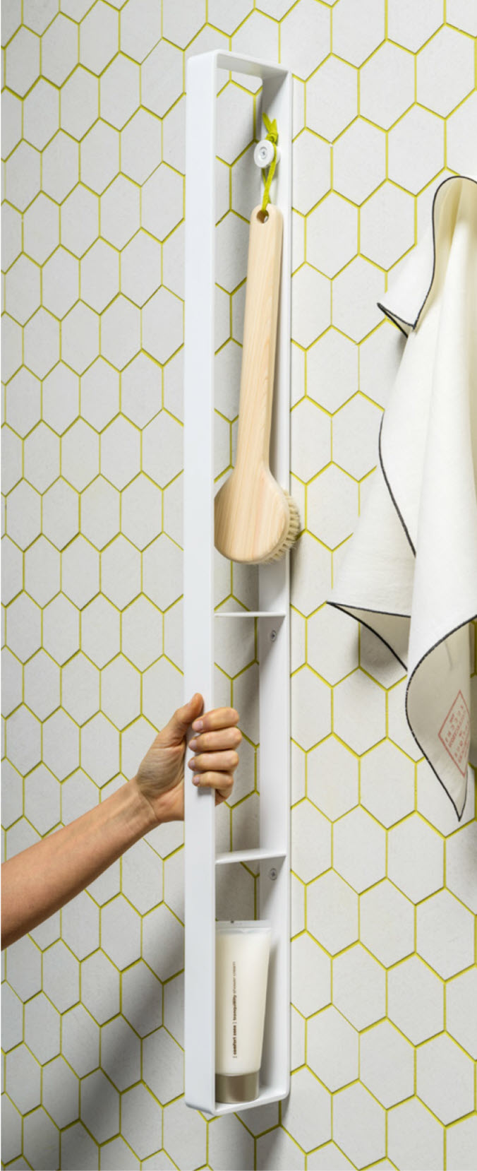 Vertical shower grab bar