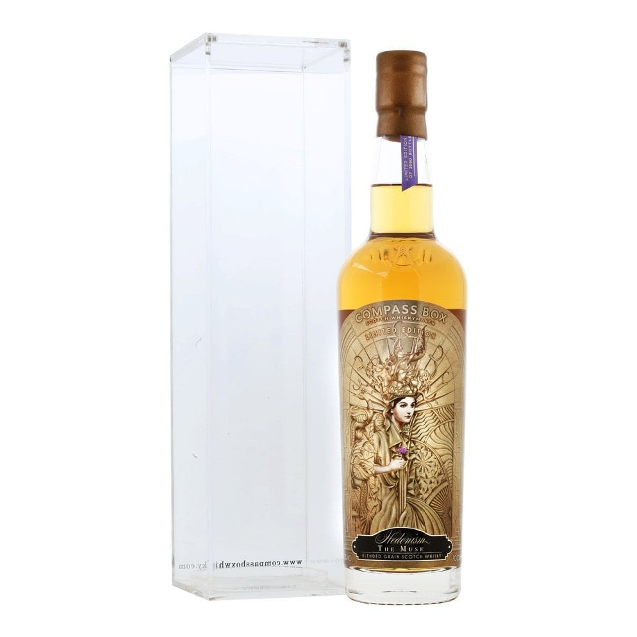 A limited edition version of Compass Box's excellent Hedonism, bottled to celebrate women in whisky – and that, for the first time, the company employs more women than men. The heart of this blended grain whisky is 'the muse cask', a butt discovered by Compass Box that contained unknown, pre-blended whiskies matching the quality and flavour profile of a Hedonism whisky. It is honeyed, spicy and fruity, with a notable presence of vanilla. Try pairing it with salted caramel.  Hedonism was Compass Box's inaugural bottling in 2000 and is thought to have been the first whisky with a woman on the label. The lead blender on the project was Jill Boyd, Compass Box's first female whisky blender.