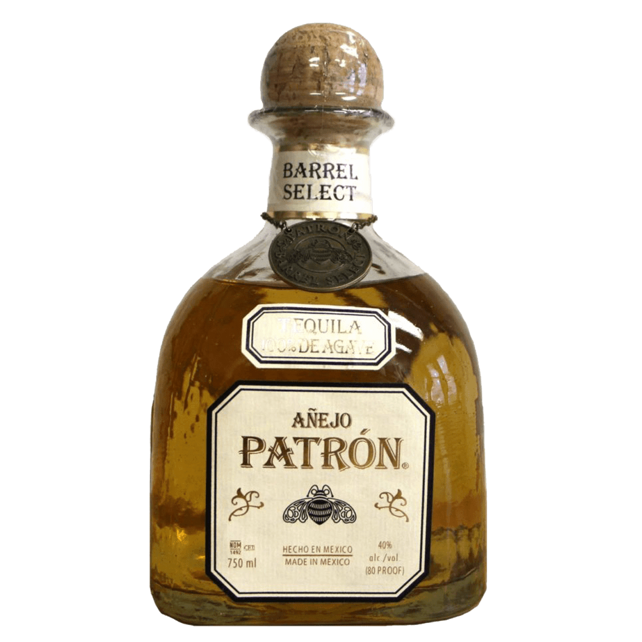 "Patron Barrel Select Anejo hand selected by ""El Patron"" aged in American and French Oak barrels."
