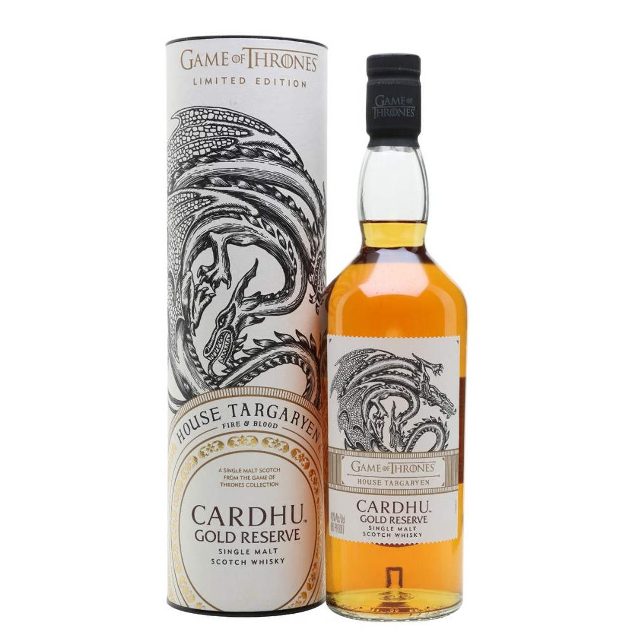 Cardhu Gold Reserve House Targaryen is one of eight single malts Scotch whiskies made to commemorate the eighth and final season of Game of Thrones. This no-age statement single malt bears the sigil of House Targaryen - a three-headed dragon. Fueled by the same fiery spirit of the fierce female leadership of Daenerys Targaryen, this single malt celebrates legendary women and their unwavering perseverance.