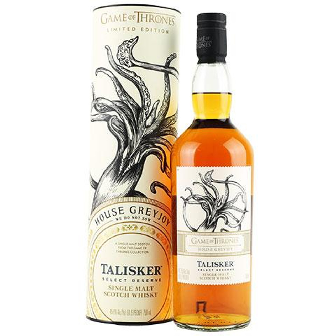 Talisker House Greyjoy is one of eight single malts Scotch whiskies made to commemorate the eighth and final season of Game of Thrones. This no-age statement single malt bears the sigil of House Greyjoy - a kraken. House Greyjoy rules the Iron Islands and worships the Drowned God. Talisker was a natural pair for House Greyjoy as this single malt is distilled on the shores of the Isle of Skye, one of the most remote and rugged areas of Scotland. The layered flavors and signature maritime character of Talisker Select Reserve are the result of its wave-battered shores. This liquid is an intense smoky single malt scotch with spicy, powerful and sweet elements combined with maritime flavors.