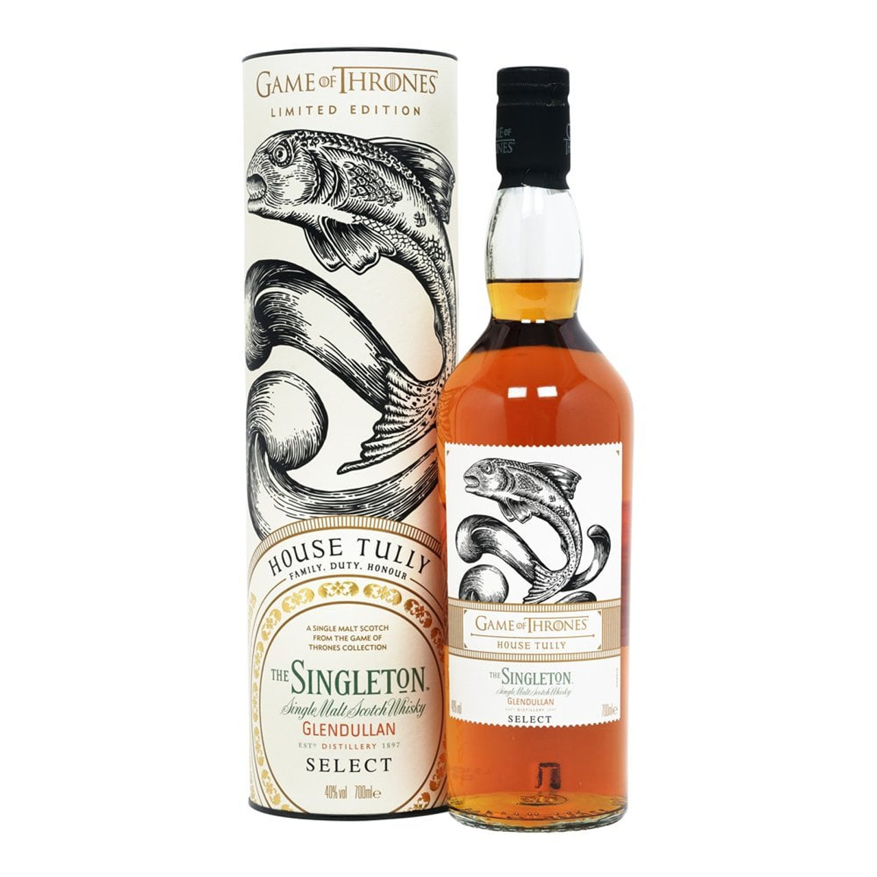 The Singleton House Tully is one of eight single malts Scotch whiskies made to commemorate the eighth and final season of Game of Thrones. This no-age statement single malt bears the sigil of House Tully - a jumping trout. House Tully located at Riverrun, rules as the lord of the River lands. The power of water flows through both House Tully and The Singleton Glendullan Select as it is made on the banks of the River Fiddich in the wooded hills of Dufftown. Here they harnessed the water that flowed through the land utilizing a water wheel to power the entire distillery.